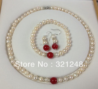 Free shopping new 2014 DIY White Akoya Cultured Pearl/Red chalcedony jades bracelets necklace earrings set GE5014