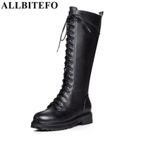 ALLBITEFO Fashion Brand Low Heel Knot Zip Round Toe Winter Snow Women Boots Genuine Leather Microfiber