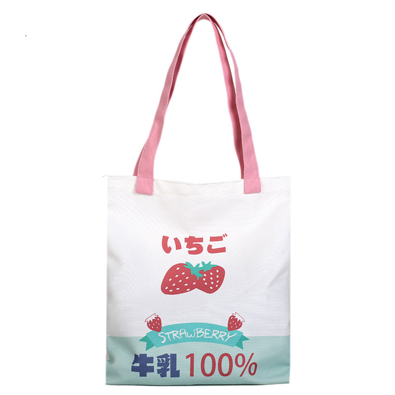 Us 8 35 24 Off An Small Cute Ping Bag Milk Canvas Tote Funny Personality Pink Fruit Messenger Bags Students S In