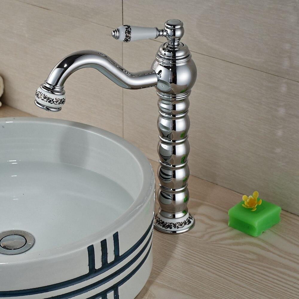 Contemporary Ceramic Style Chrome Brass Bathroom Basin Faucet Single Handle Hole Vanity Sink Mixer Tap