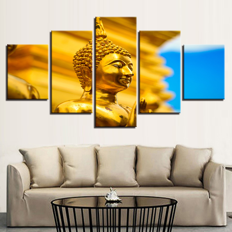 Canvas Wall Art Pictures Modular 5 Pieces Gold Buddha Paintings Home ...