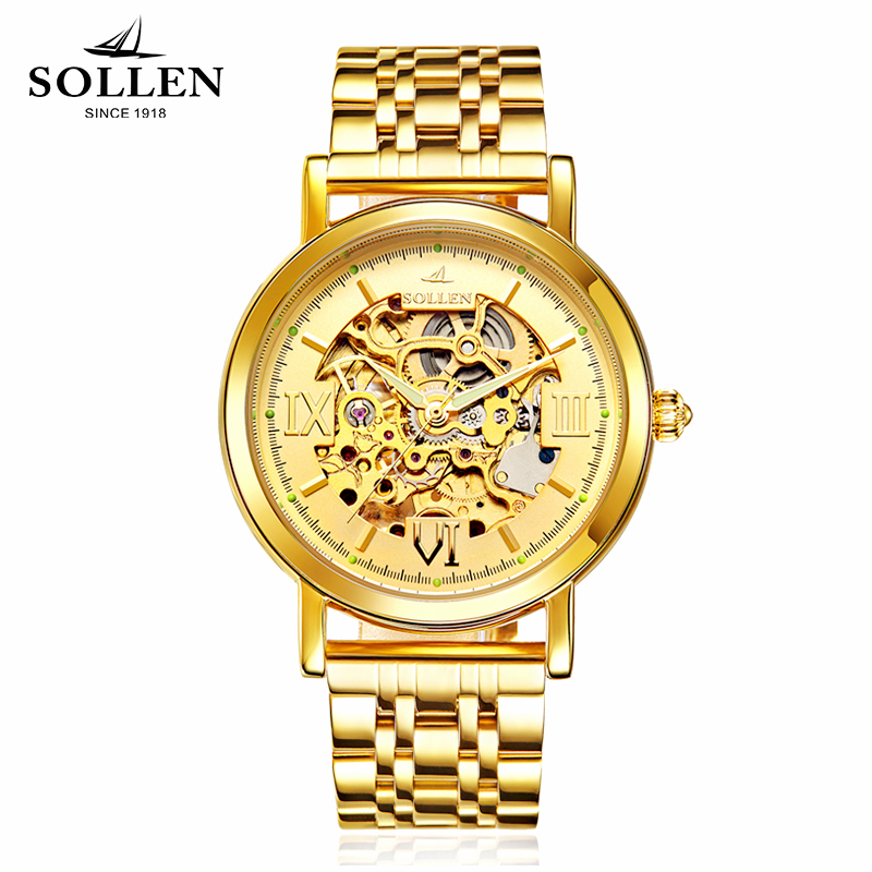 watch men SOLLEN 501 automatic mechanical double sided hollow waterproof luxury gold steel male business wristwatches 601 in Mechanical Watches from Watches