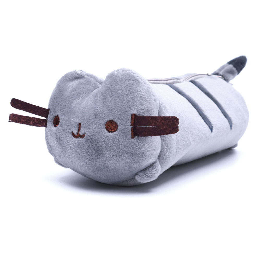1pc Large Capacity Plush Japanese Style Cute Color Cat Pencil Canvas Case Stationery Storage Organizer Bag Cute Fat Pencil Bags