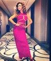 Myriam Fares Laço Cor de Rosa Vestidos de Celebridades 2016 Com Decote Em V Lantejoula Árabe Dubai Abiye Ilusão Sexy Pageant Vestidos de Noite Longo do Baile de finalistas