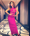 Myriam Fares Pink Lace Celebrity Dresses 2016 V-neck Sequin Arabic Dubai Long Prom Abiye Illusion Sexy Pageant Evening Gowns