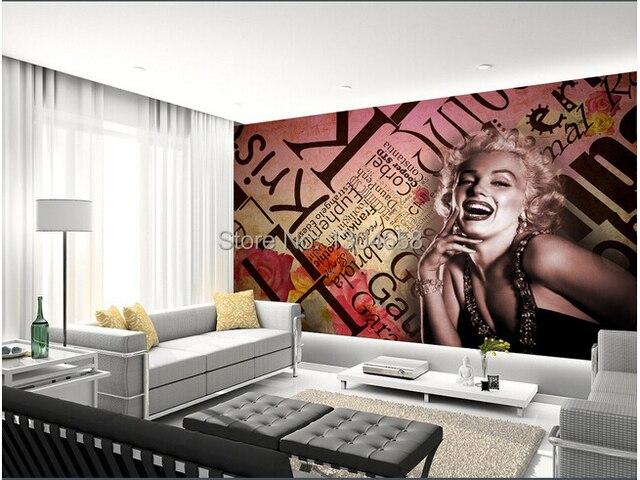 Custom europese stijl behang marilyn monroe voor de woonkamer de ...
