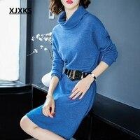 XJXKS streetwear 2019 new fashion women turtleneck sweater dress 100% wool knitted comfort women dresses free shipping