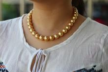 925 silver real natural big Nanyang Zhujin yellow pearl necklace natural seawater pearl necklace round very light Tahiti silver