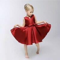 높은 품질의 여자 옷 성능 마모 작은 V 칼라 수입 새틴 공주 민소매 파티 드레스 어린이 의류