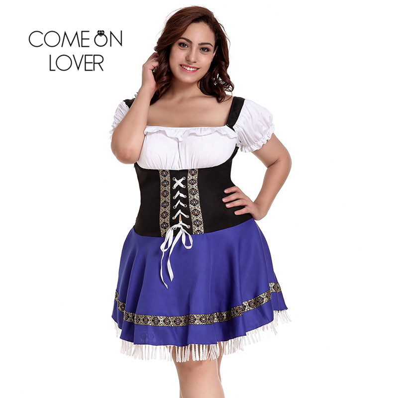 Comeonlover German Beer Girl Costume Dress Plus Size 7XL Maid Lingerie Costume Sexy Femme Cosplay Halloween Fancy Dress CI80705