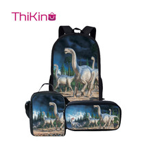 Thikin Dinosaur School Bags for Kids Boys  Combination Backpacks Preschool Lunchbox pupil Travel Shoulder Bag Women Mochila
