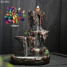 Resin Mountain Shaped Waterfall Backflow Incense Burner Holder Aromatherapy Furnace Home Office Decor + 20pcs Incense Cones(China)