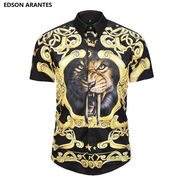 f24a0f8a33a7 EDSON ARANTES Summer Shirts Men Korean Shirt Short Sleeve Men s Tiger  Prints Button Down Casual Slim Fit Aloha Hawaiian Shirt