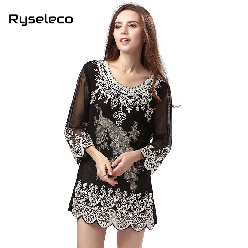 Buy Cheap New OEM Factory Sale Women Summer Autumn Vintage Retro Rope Embroidery Heart Paisley Sequined Peacock Mini Shirt Dresses Party