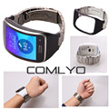 COMLYO Fashion for samsung Gear S R750 band Metal Stainless steel strap with leather frame watch band Reaplce R750 wristbands