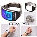 Moda para samsung gear s r750 comlyo banda de metal marco de acero inoxidable con correa de cuero reloj banda reaplce r750 pulseras