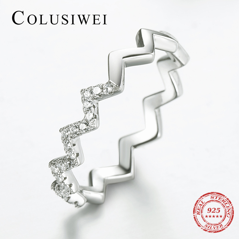 COLUSIWE 100% Silver Rings For Women Authentic 925 Sterling Silver Jewelry Unique Irregular Line Finger Rings Engagement Jewelry