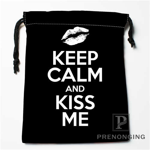 Custom KEEP CALM @01 Drawstring Bags Printing Fashion Travel Storage Mini Pouch Swim Hiking Toy Bag Size 18x22cm 171203-6-2