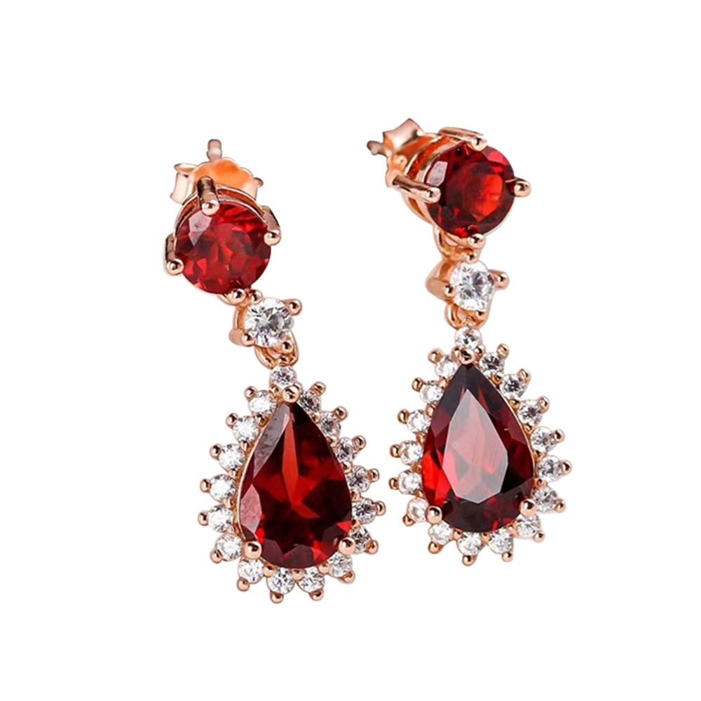 Usine de bijoux gemme 2019 nouveau conçu blanc rose or 925 argent sterling naturel rouge grenat pendentif boucles d'oreilles