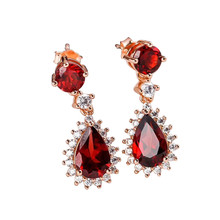 gem jewelry factory 2019 new-designed white rose gold 925 sterling silver natural red garnet pendant earrings