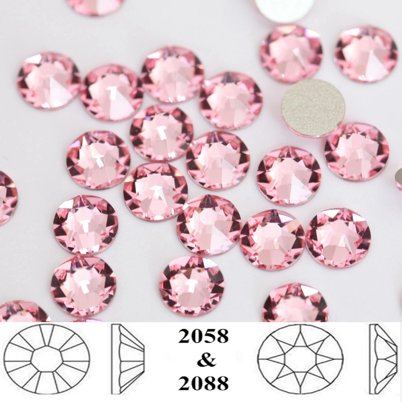 223 Genuine Swarovski 2058 /& 2088 Flat Back Rhinestones *All Sizes LIGHT ROSE