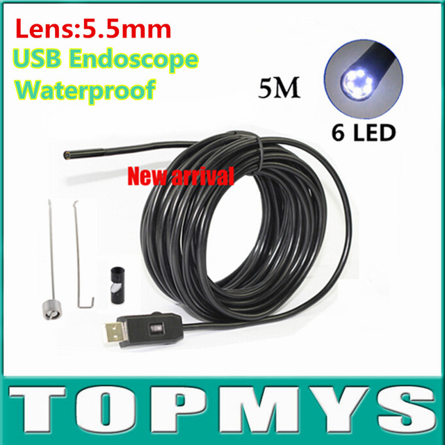 PC USB endoscope TM-IC5M 0.3MP lens 5.5mm Cable 5M inspection camera with 3PCS accessories as gift Waterproof Borescope Camera бесплатная доставка ic интегральной схемы max3238ecpwr ic rs232 3 в 5 5 в drvr 28 tssop 3238 max3238 3 шт