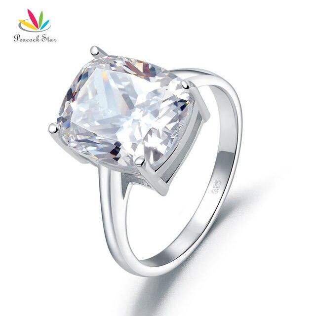 Pavone Stella Solido 925 Sterling Silver 6 Carat Anniversario di Matrimonio Solitaire Anello Gioielli Di Lusso CFR8286