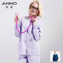 Outcoat Blue Autumn/Winter Medical Scrubs Long Sleeve Out Door hospital clothing Cotton/Polyester Nursing Uniform surgical cloth