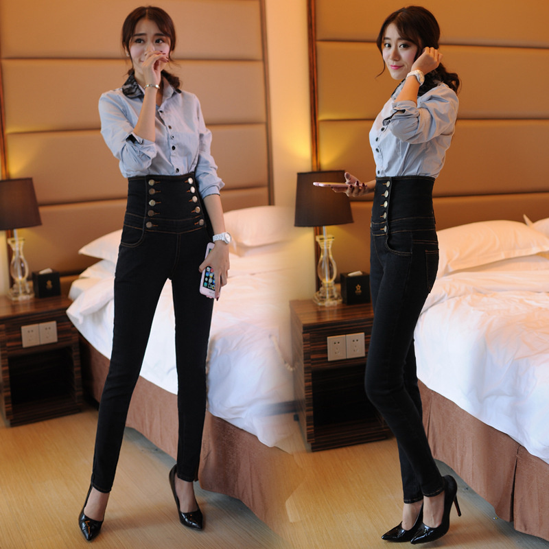 Women spring and autumn New High Waist jeans female black trousers large yardsThin waist Pencil Pants feet Slim pants S2461