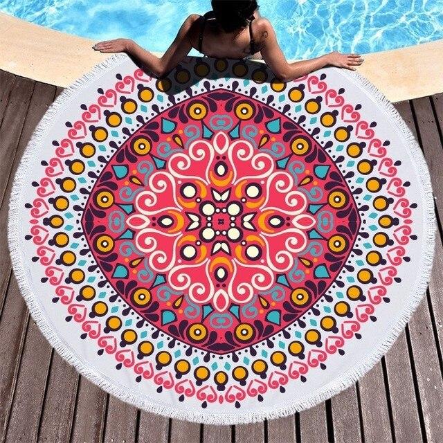 Runde Strand Handtuch Mandala Blume Mikrofaser Strand Handtücher Für Erwachsene Kinder Sommer Reise Sport Yoga Matte Picknick Große Bad Handtücher