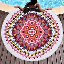 Yuvarlak Plaj Havlusu Mandala Çiçek Mikrofiber Plaj Havlusu Yetişkinler Için Çocuklar Yaz Seyahat Spor Yoga Mat Piknik Büyük banyo havluları