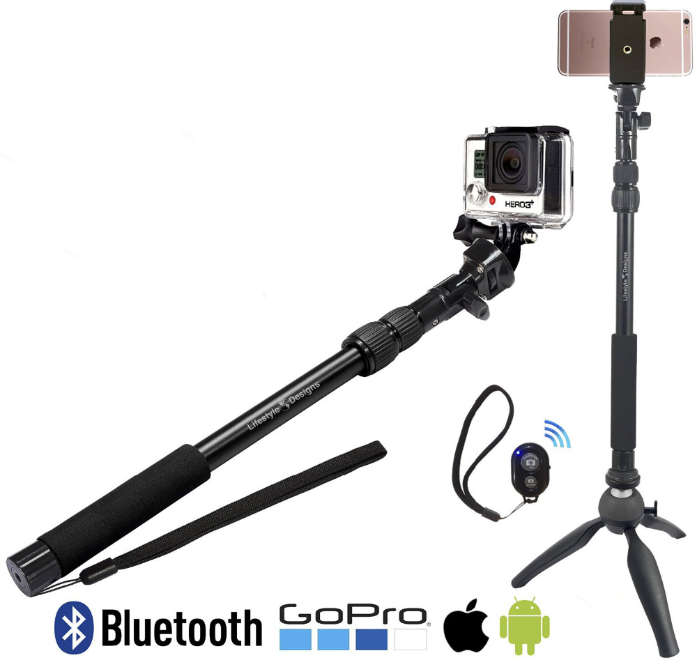 3 in1 bluetooth selfie stick 390 865mm bluetooth monopod for iphone android gopro SJ camera mini