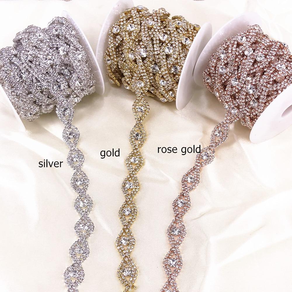 5yard Rose Gold Crystal Rhinestone Trim Chain Decoration Crystals for DIY Handmade Bridal Wedding Waist Belt