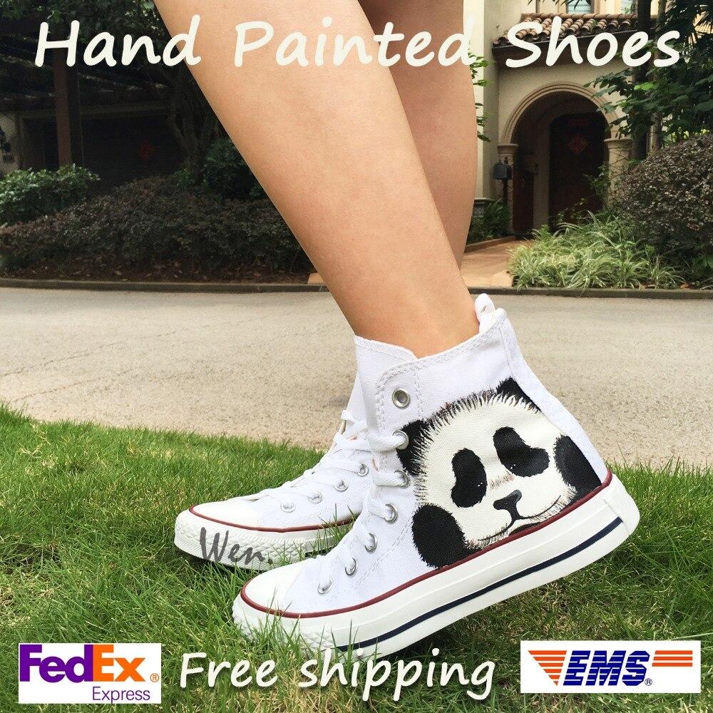 Wen bijelo ručno oslikane platnene cipele originalni dizajn prilagođene slatka panda dječaci djevojke visoke vrh platna tenisice muškarci ženske darove