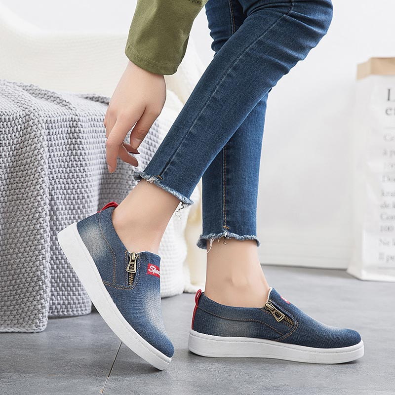 c4e6030894327 Tenis Mode Feminino Respirant Doux Denim Femmes De light Plus 2019 Blue  Toile Casual Non Dark Blue La slip Femme orange Chaussures Zip Sneakers ...