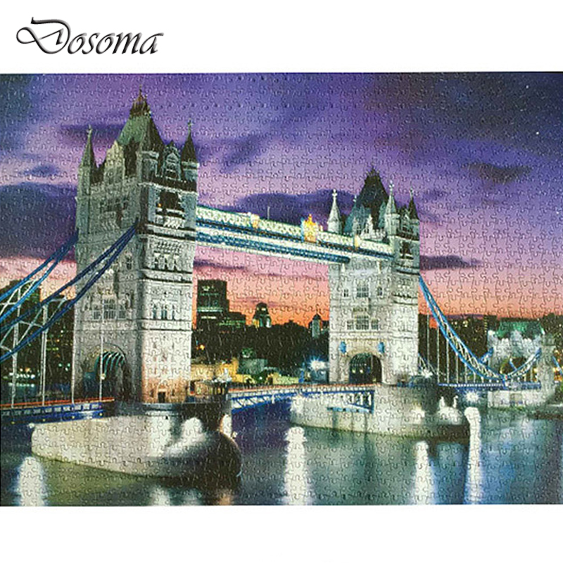 Tower Bridge 1000 Pcs Paper Jigsaw Puzzle Night Beautiful Tower Bridge Landscape Puzzle Toys 1000 Pieces Adult Jigsaw Gifts virgo the wooden puzzle 1000 pieces ersion jigsaw puzzle white card adult heart disease mental relax 12 constellation toys
