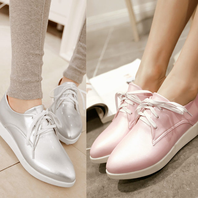 2016 Newest casual shoes less platform med heel lace up women pumps pink blue silver white ladies shoes size 34-39