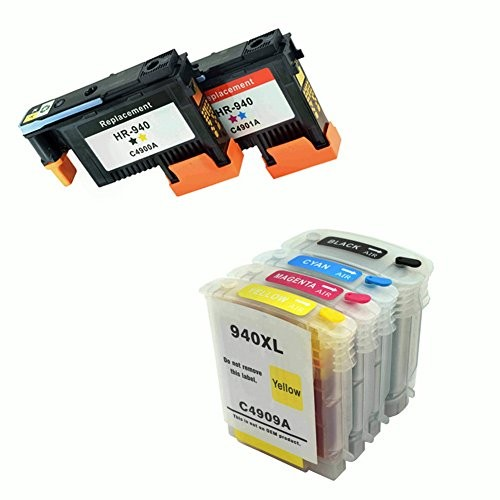 Compatible for HP940 x 2pcs Printheads and for HP940 x 4pcs Ink Cartridges with Latest Chips for HP Officejet Pro 8000 8500 850Compatible for HP940 x 2pcs Printheads and for HP940 x 4pcs Ink Cartridges with Latest Chips for HP Officejet Pro 8000 8500 850