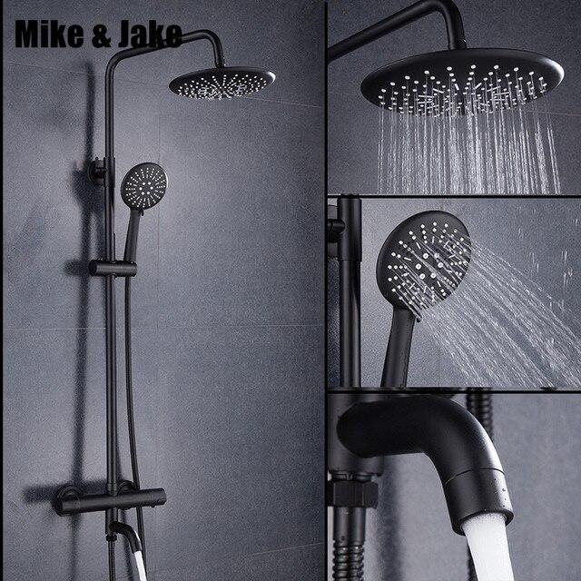 Роскошный Черный Термостатический смеситель для душа квадратный смеситель для душа смеситель для горячей и холодной воды смеситель для ванны Термостатический смеситель для душа MJ9891