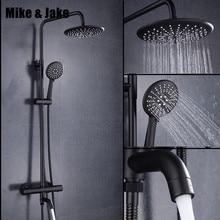 Juego de ducha termostática de lujo, negro, cuadrado, grifo de ducha fría y caliente, mezclador de ducha termostática para bañera MJ9891
