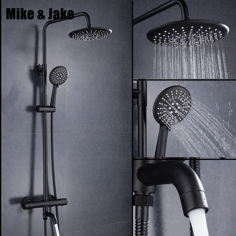 Preto de luxo termostática chuveiro definir quadrado torneira do chuveiro quente e fria Do Chuveiro torneira da Banheira misturador do chuveiro termostática MJ9891