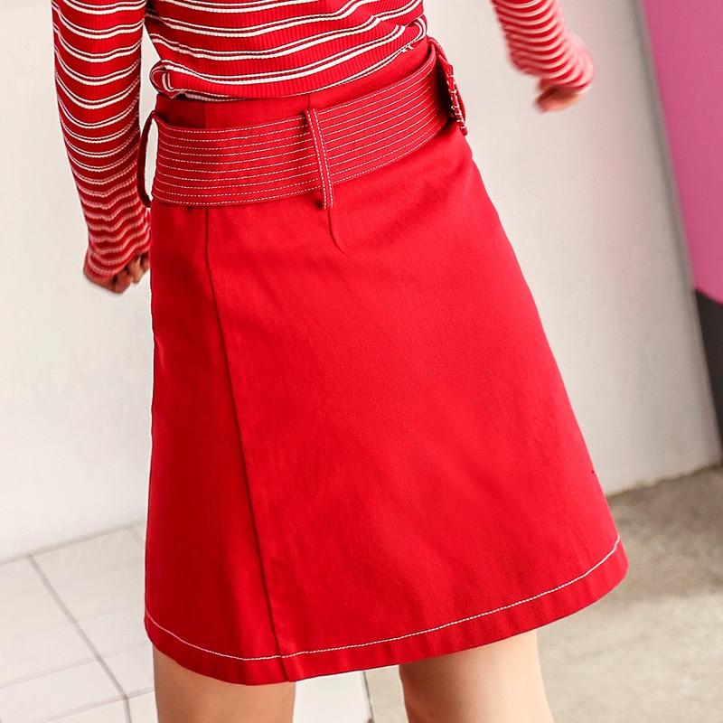 Corta Fajas Falda Mujeres Bolsillo Algodón Alta Verano Cintura Niña Nuevas Con Preppy De Faldas Rojo Estilo 100 xX0FWRT7X