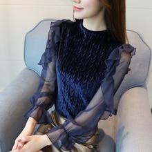 Women Blouses Layered Ruffles Velour Shirt Flare Sleeve O-neck Elegant transparent Long sleeve Tops Casual 625J