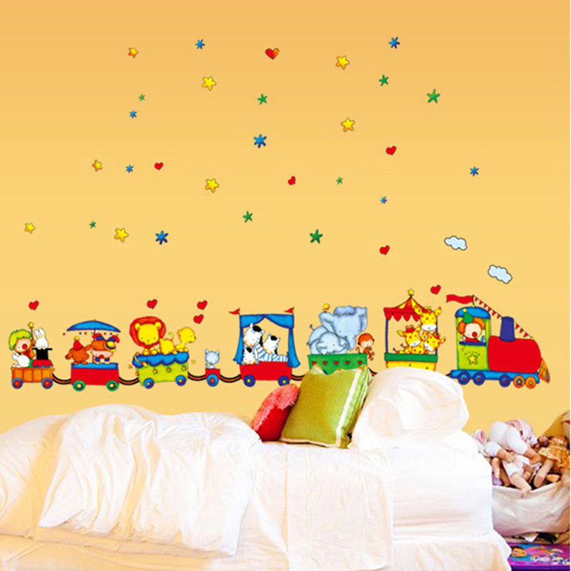 Мультфильм животных Детская комната игра обои украшения творческий Малыш Спальня поезд трек детский сад облако настенная живопись Мура