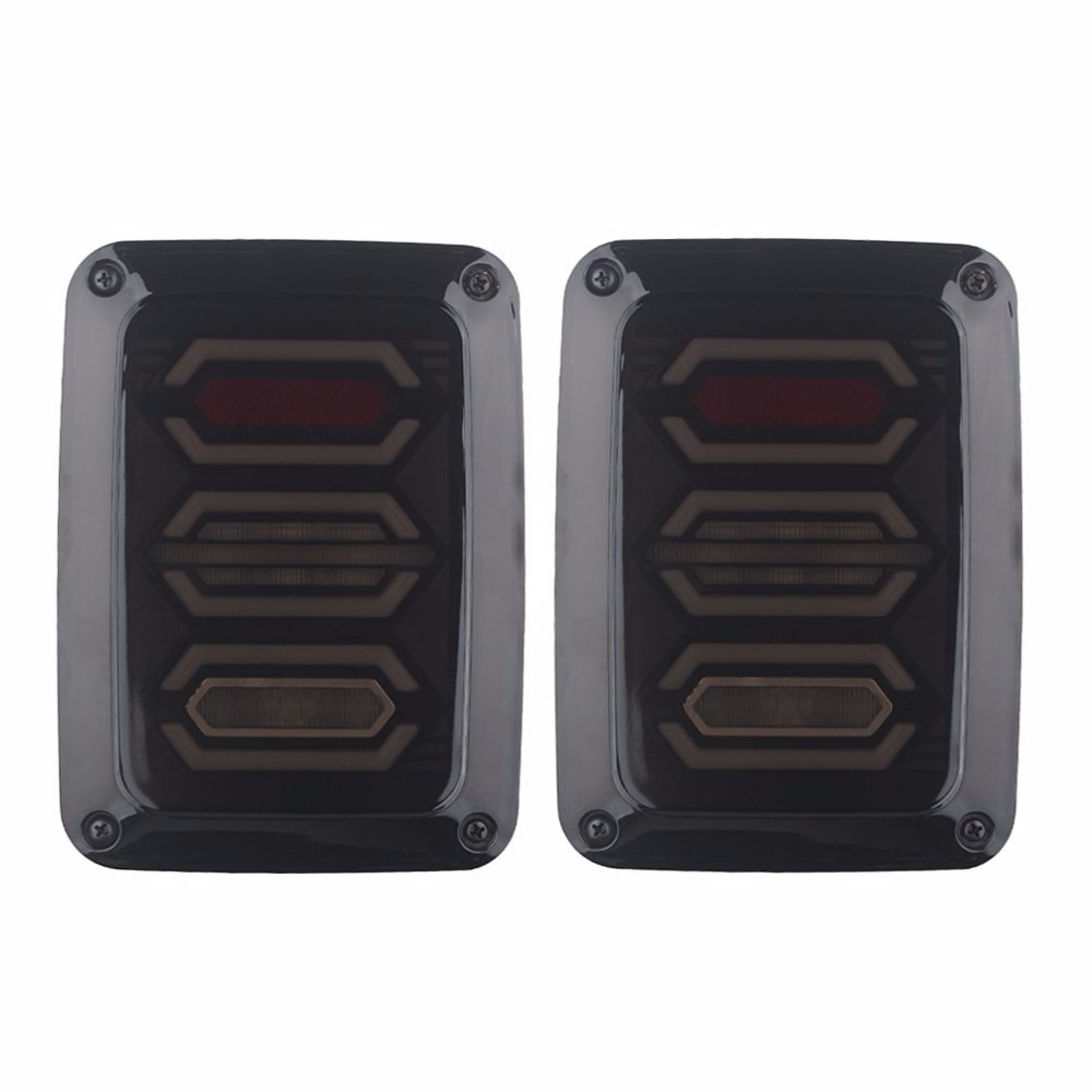 Smoke LED Tail Lights for Jeep Wrangler Taillights Reverse Light Real Back Up Turn Signal Lamp DRL for Jeep Wrangler JK 2007-16 tail lamp tail light cover trim guards protector for rear taillights 2007 2016 jeep wrangler jk unlimited accessories