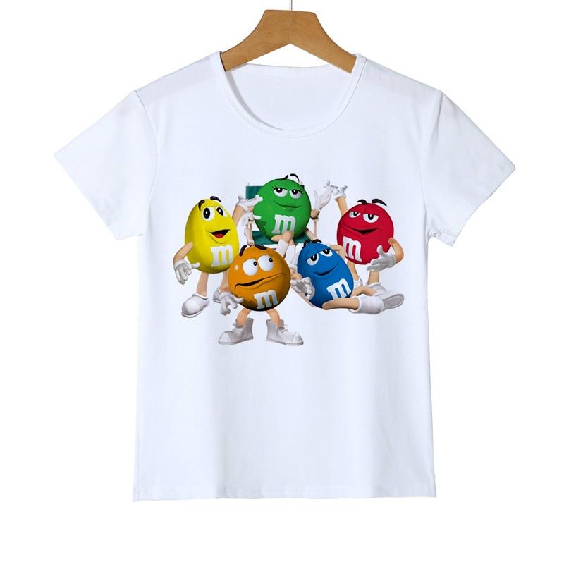 Fashion Kid T-shirt 3D Boy/Girl Chocolate Beans MM Print Funny Streetwear T Shirt Anime Short Sleeve Baby Shirts Z47-4