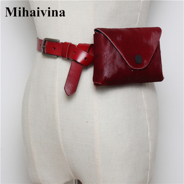 Mihaivina Horse Hair Fanny Pack Genuine Leather Women Belt Bags Leopard Luxury Waist Bag Pack Fashion Female Pouch Phone Bag