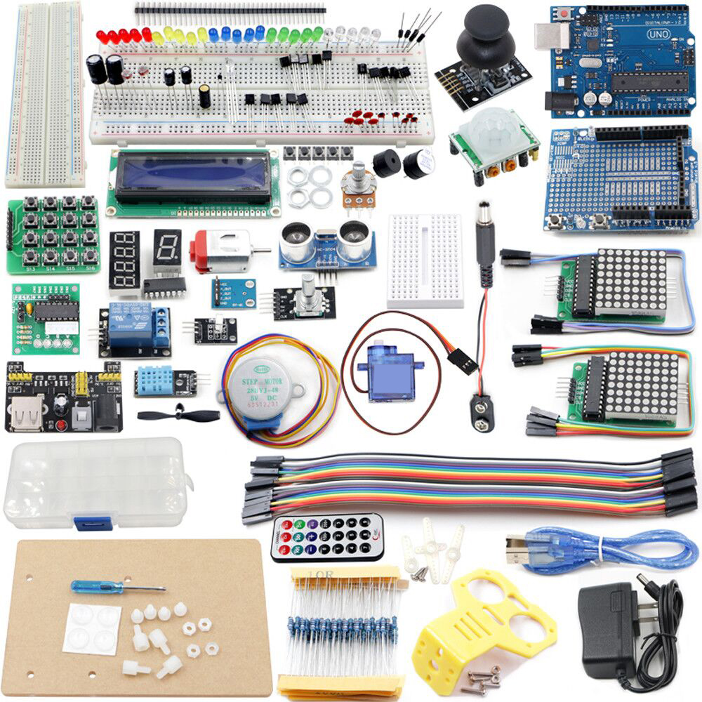 UNO Project The Most Complete Starter Kit  with Tutorial, UNO R3, LCD1602, Power Supply, Servo, Stepper Motor,ect. the granny project