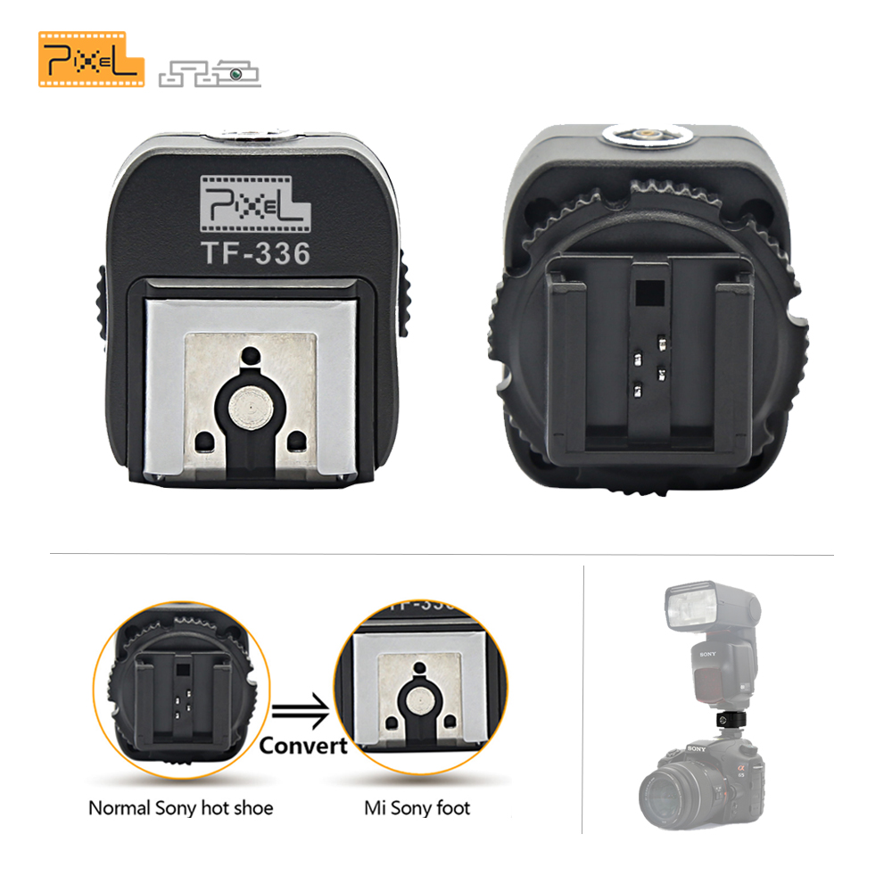 Pixel TTL Hot Shoe Converter Adapter com Porta PC Convertering TF-336 para Sony Câmera Hotshoe para Uso Normal Nova Mi sapata de Flash