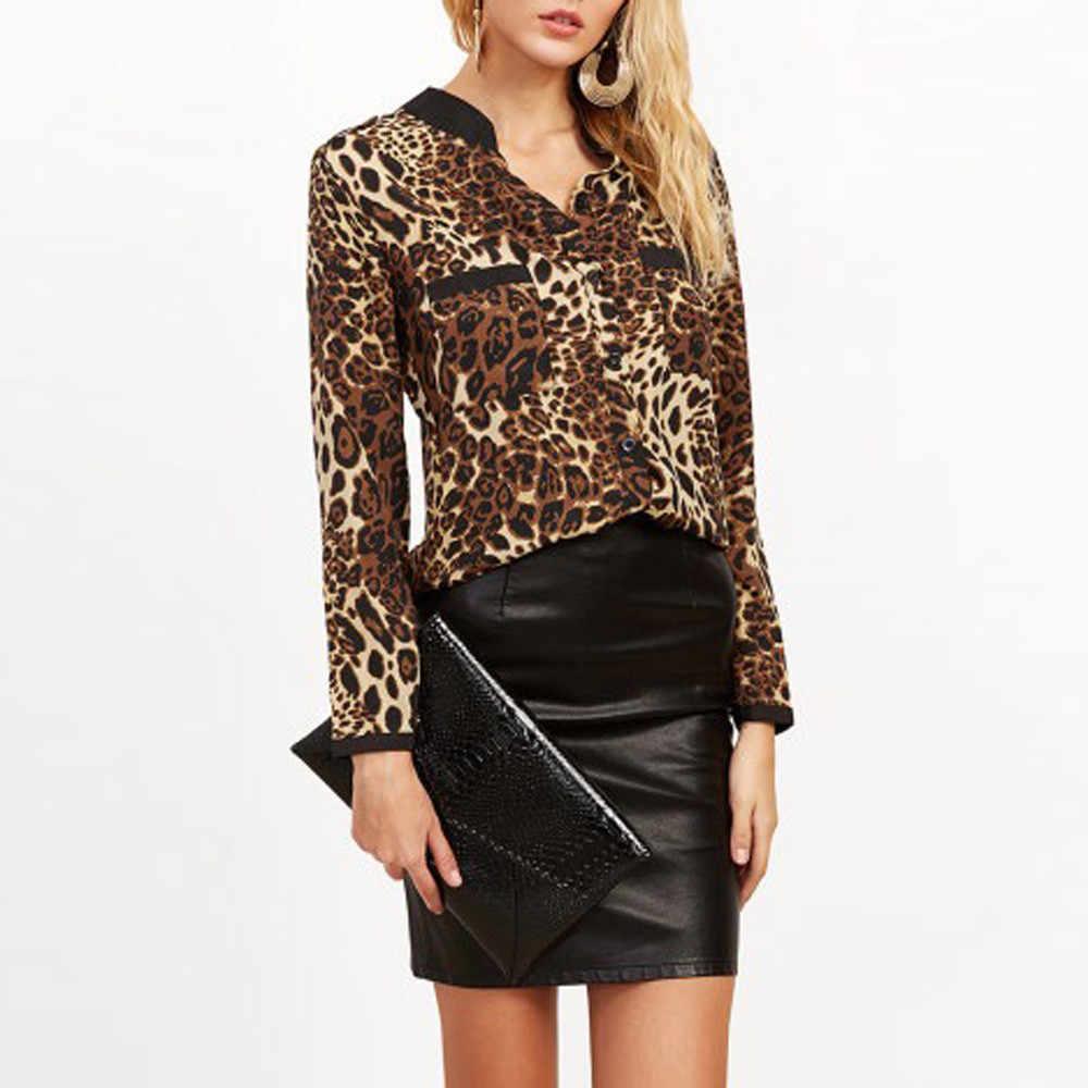 760e799b810 ... 2018 женская блузка с леопардовым принтом рубашка с длинным рукавом v-образный  Вырез Топ свободные ...